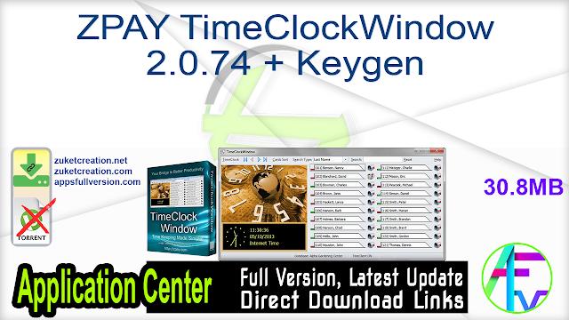 ZPAY TimeClockWindow 2.0.74 + Keygen