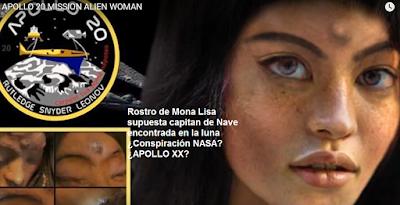 Rostro de Mona Lisa el atronauta humanoide que fue estudiado por el Apollo XX