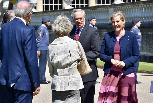 The Countess of Wessex wore Roksanda stripe dress and Joseph Nessie basket weave jacket in blue