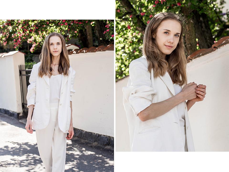 All white suit outfit for summer - Kokovalkoinen housupuku kesän juhliin