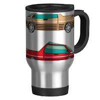 A steel travel mug with concept car designs available from zazzle.com