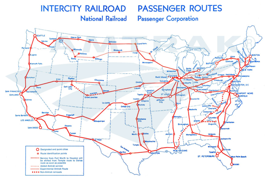 Amtrak route map 1971