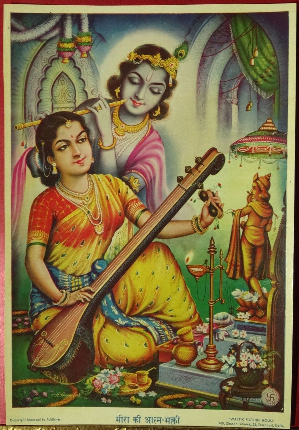 Meera's Devotion to Krishna - Vintage Print, India 1930's