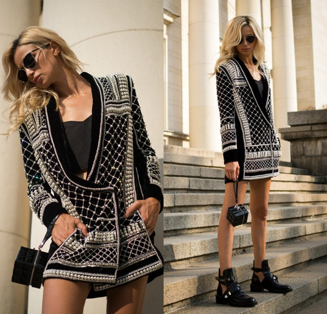 Balmain x H&M 2015 Fall Beaded Velvet Jacket Street Snap