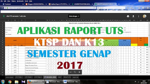 Aplikasi Raport Ulangan tengah Semester KTSP dan K13 2017