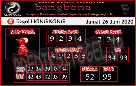 Prediksi Togel Hongkong Bangbona Jumat 26 Juni 2020