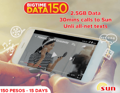 Sun Big Time Data 150 : 2.5GB Data, Unli All Net Texts + 30mins Calls to Sun for 15 Days