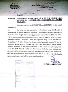 APPOINTMENT UNDER RULE 17-A OF THE PUNJAB CIVIL SERVANTS