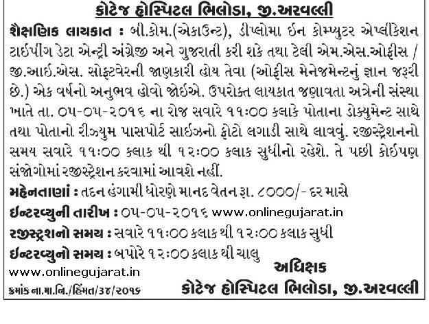 Cottage Hospital Bhiloda, Aravalli Data Entry Operator