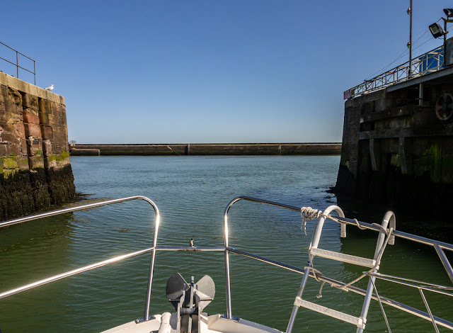 Photo of Ravensdale leaving the marina through the sea gate that is currently out of action