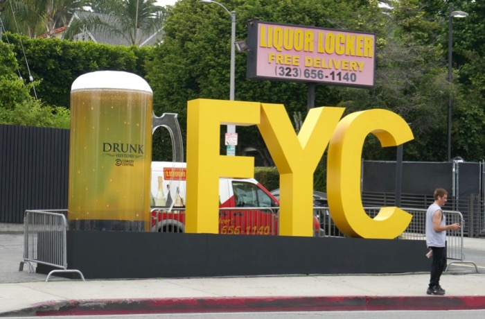 Giant Drunk History beer mug FYC sign Sunset Strip
