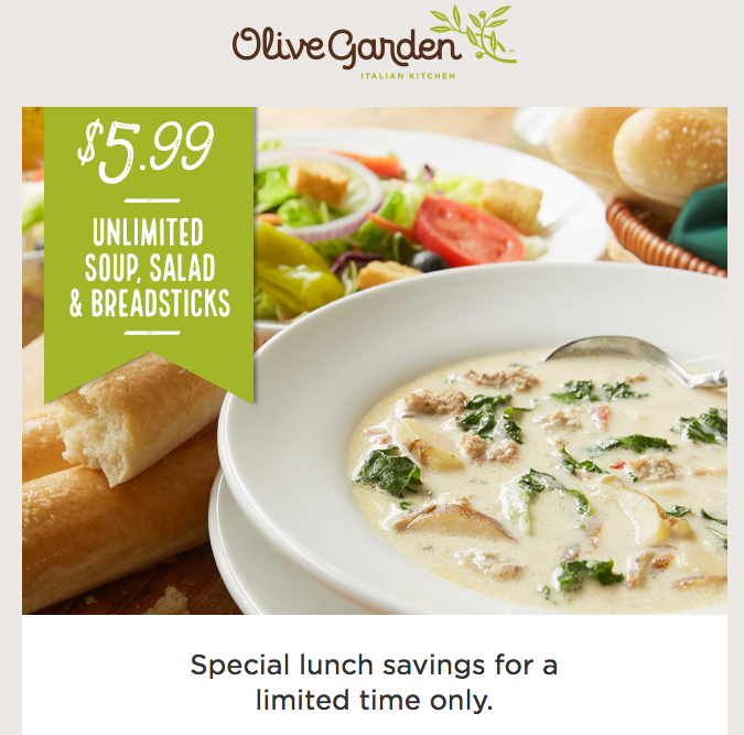special lunch savings until friday october 21st enjoy the olive garden classic lunch - Olive Garden Canton Ohio