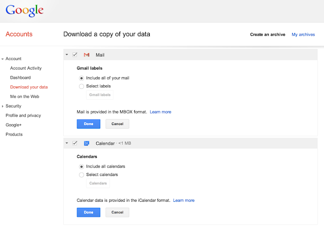 Export Gmail emails and data