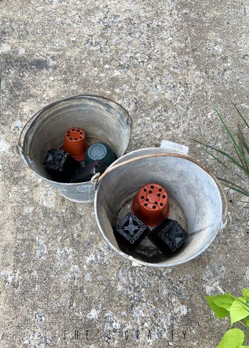 Plastic pot filler for galvanized buckets.