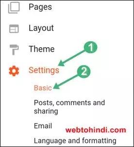 1 setting 2 basic par click kare