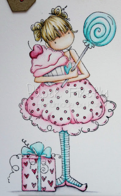 Girly birthday card using Tiny Townie Sammy is Sweet by Stamping Bella