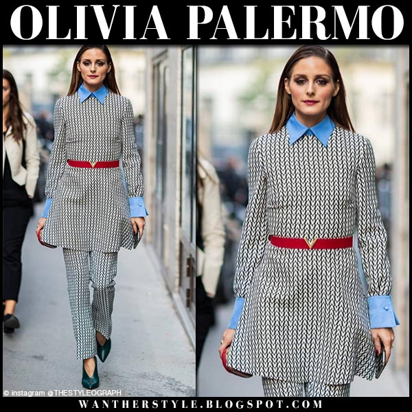 Olivia Palermo in black and white valentino printed matching top and pants and green shoes jimmy choo lark fashion week style september 30