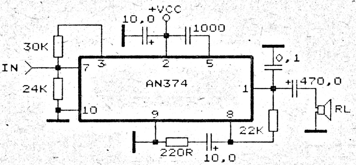 an374 1 watt l 8 - 16 volts audio amplifier