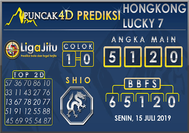 PREDIKSI TOGEL HONGKONG LUCKY7 PUNCAK4D 15 JULI 2019