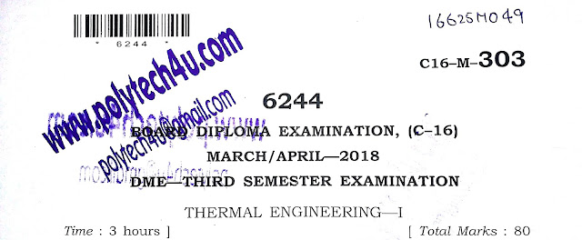 C-16 DIPLOMA THERMAL ENGINEERING-1 MODEL PAPER 2018