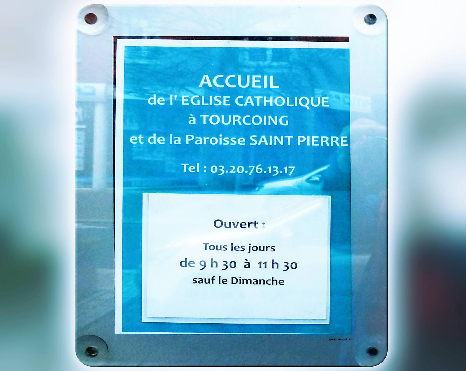 Horaires d'ouverture Centre Pastoral Tourcoing