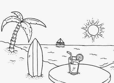 Sketsa gambar pemandangan pantai