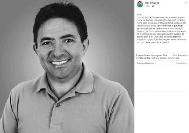 Prefeito de Granjeiro é morto a tiros enquanto caminhava próximo de sua residência