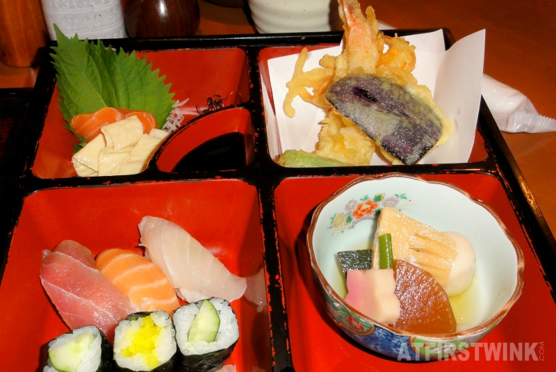 Kyoto lunch lacquered bento box lunch tempura sushi sashimi sushi nigiri simmered vegetables