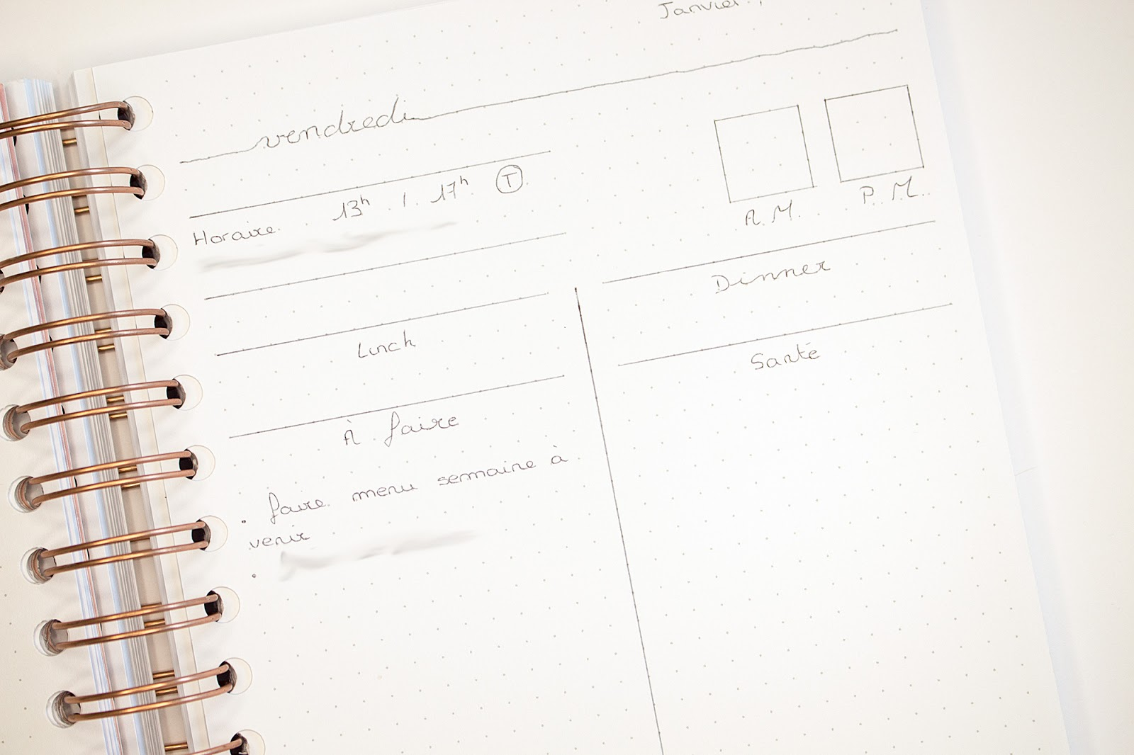 Bullet Journal Janvier 2020 Layout Design