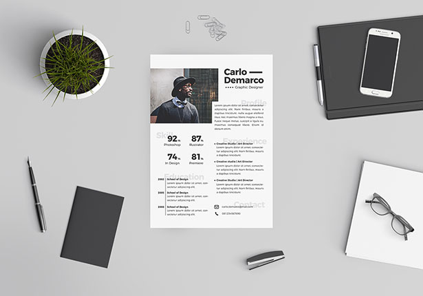 Template Resume CV 2018 - Free Resume Template in Illustrator Ai Format