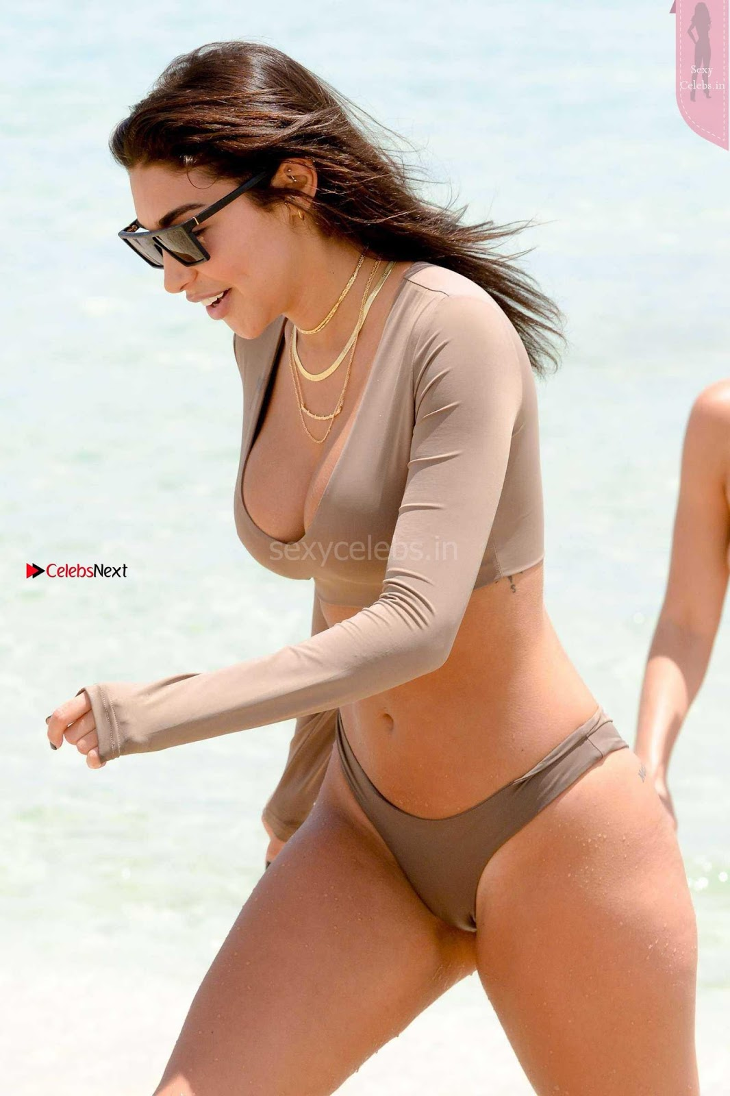 Chantel Jeffries in a nude colored Wet Bikini Sexy Tits Lovely Huge Ass WOW April 2017 Exclusive Candids