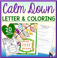 Calm Down Letter and Coloring Sheets