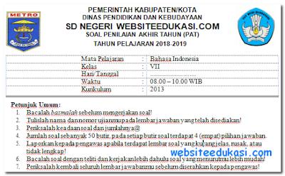 Soal PAT/UKK Bahasa Indonesia Kelas 7 K13 Tahun 2019