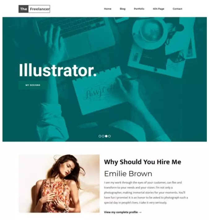 Freelancer blogger theme