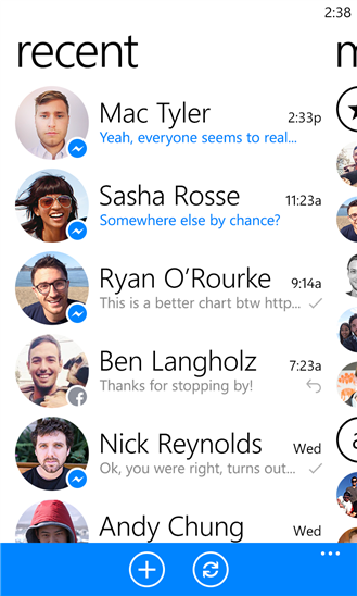 Facebook Messenger recent
