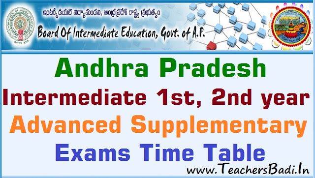 AP Inter,Supplementary Exams,Time Table
