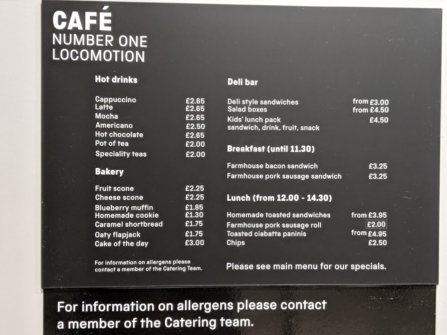 10 Reasons to Visit Locomotion Shildon  - cafe menu