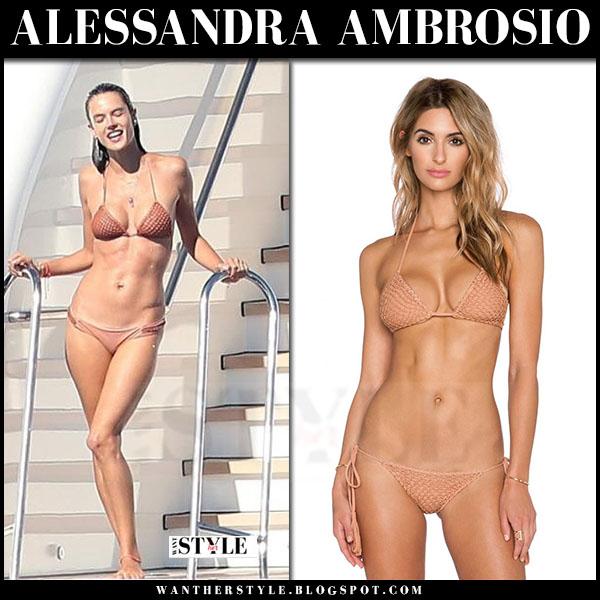Alessandra Ambrosio in tan two piece triangle bikini acacia humuhumu what she wore