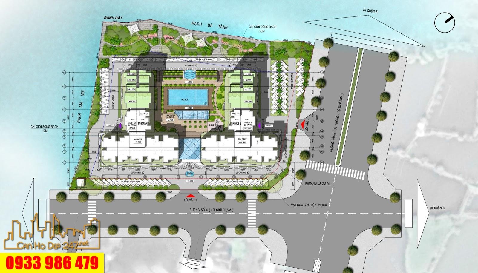 Mặt bằng tổng thế khuôn viên dự án Căn hộ Conic Riverside Quận 8 của CĐT Lĩnh Phong trong khu dân cư Conic