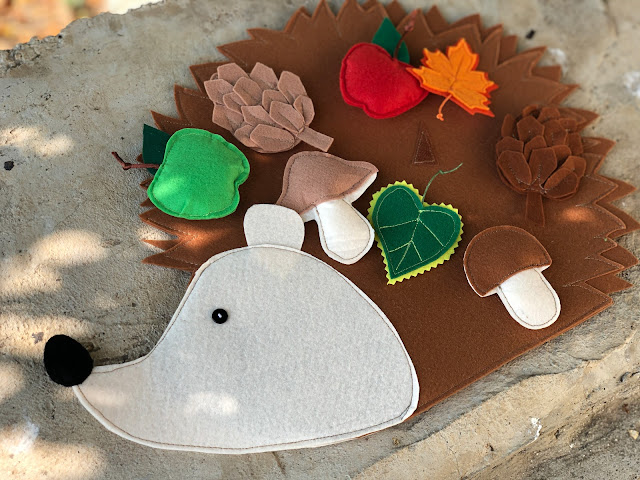 Felt hedgehog with stick on velcro food pieces Handmade by TomToy
