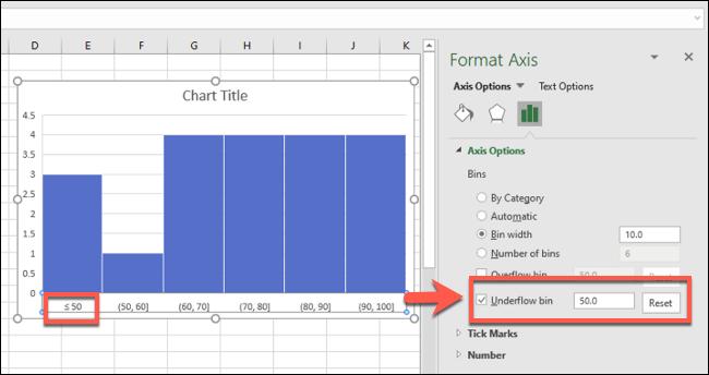 مدرج تكراري لـ Excel مع تجميع سلة تحتية