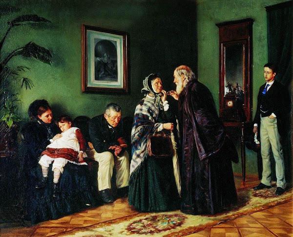 Маковский Владимир Егорович - В приемной у доктора. 1870