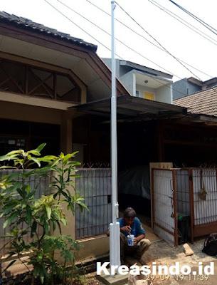 Tiang Bendera Besi pesanan Bpk Hananto di Sawangan Depok