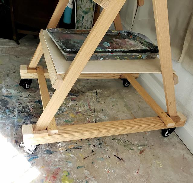 artist easel modifications on wheels
