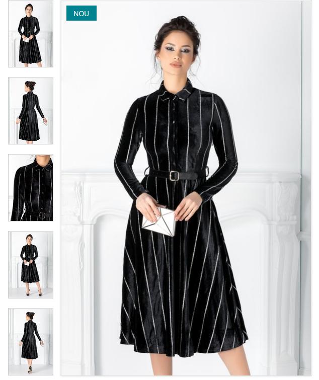 Rochie neagra eleganta in dungi cu sclipici cu curea in talie guler tip camasa