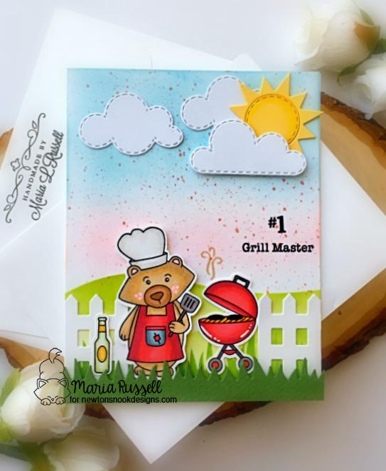 #1 Grill Master Bear Card by Maria Russell | Winston's BBQ Stamp Set, Fence Die Set and Sky Scene Builder Die Set by Newton's Nook Designs #newtonsnook #handmade