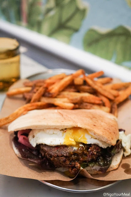 Lamb Burger with Fries at Shuka in New York City