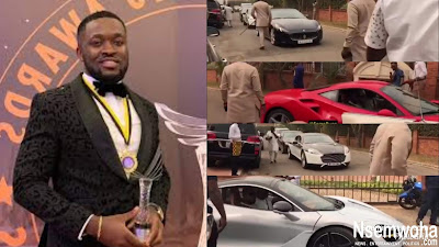 Must Watch: Here Is How Despites Son, Osei Kennedy Ordered Organizers to Arrange the Luxury Cars for His Convoy to the Wedding Premises _VIDEO