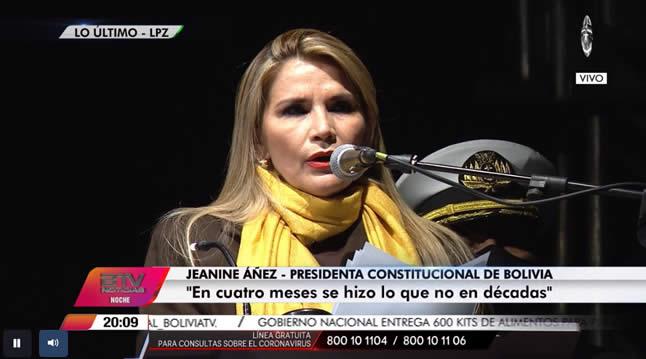 Presidenta Jeanine Áñez inaugura fibra óptica de internet con conexión directa al Pacífico