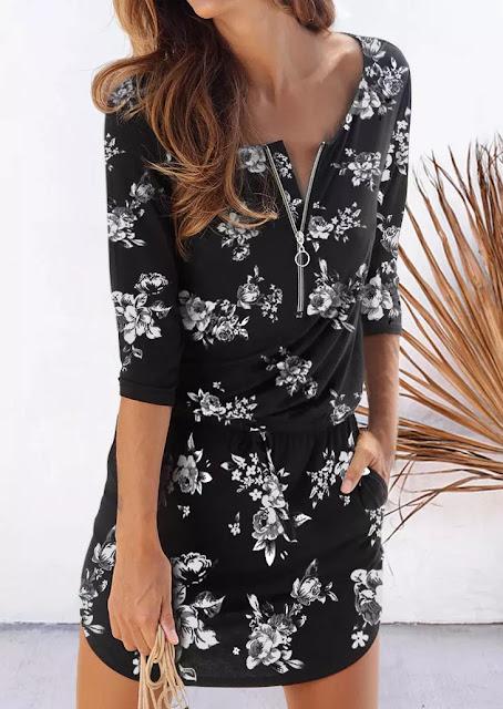 Floral Pocket Drawstring Elastic Waist Mini Dress | Color Black
